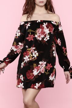 Black floral off-shoulder mini dress with a boxy fit and ribbon tie detail on sleeves.   Black Floral Mini Dress by essue. Clothing - Dresses - Casual Clothing - Dresses - Floral Clothing - Dresses - Mini Clothing - Dresses - Off The Shoulder New Jersey