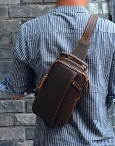 b74ba5cb1a40 Leather Sling Bag for Men Vintage Chest Crossbody Bag For Men