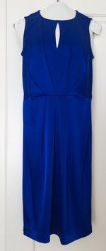 Brand new (with tags) St. John Vivid Blue Satin Sheath Dress. Save 58% on this beautiful designer dress. Could you get it for less? Click here to find out! Shop Tradesy.com.