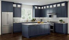 All Wood RTA Transitional Shaker Kitchen Cabinets in Elegant Blue, Modern Kitchen Remodel Idea Blue Shaker Kitchen, Shaker Kitchen Cabinets, Refacing Kitchen Cabinets, Kitchen Cabinet Doors, Kitchen Countertops, Wood Cabinets, Navy Blue Kitchen Cabinets, Kitchen Backsplash, Kitchen Fixtures