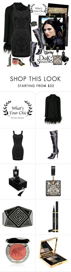 """Party with What's Your Chic"" by carola-corana ❤ liked on Polyvore featuring Boutique Moschino, Kilian, Tory Burch, Chanel, Yves Saint Laurent, Chantecaille, Smith & Cult, dress, Kneehighboots and partyrfashion"