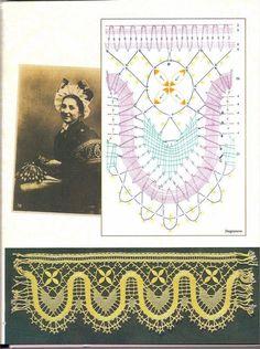 renda de bilros / bobbin lace esquemas / patterns Irish Crochet Patterns, Bobbin Lace Patterns, Crochet Borders, Crochet Motif, Knit Crochet, Bobbin Lacemaking, Victorian Lace, Needle Lace, Textiles