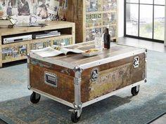Masiv24 - INDUSTRIAL konferenčný stolík/Container #102, liatina a staré drevo