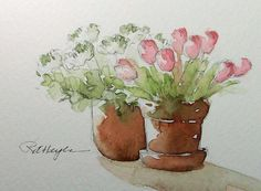 Pink and White Flowers Original Watercolor Painting ACEO