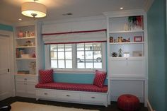 White pelmet box with pink trim for girls' room