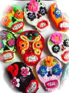 crochet sugar skulls.