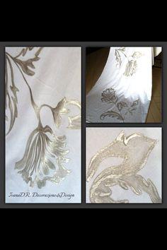 "Painting on fabric, pittura su stoffa ""Silver decoration"""