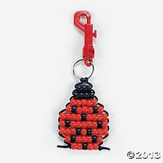 Pony Bead Ladybug Key Chain Craft Kit - Oriental Trading