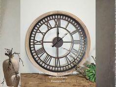 """Wandklok-muurdecoratie hout-metaal landelijk bruin Ø 60 """"Cari"""" Clock, Metal, Inspiration, Table Fan, Home, Home Appliances, Wall Clock, Home Decor"""