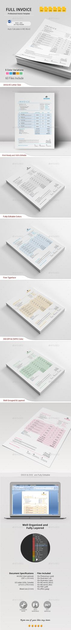 Invoice Bundle Print, Stationery and Template - invoice print