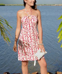Take a look at this Red & White Keyhole Halter Dress by Aller Simplement on #zulily today!