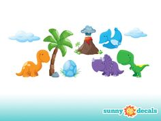 Dinosaur Fabric Wall Decals, Wall Stickers, Dinosaur Theme Nursery Decor, Nursery Wall Stickers - Sunny Decals
