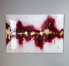 Large abstract acrylic painting with gold leaf and glitter on 24x36 stretched canvas that is 1/2 deep. It has a thick high gloss glass coat layer of resin. This is a signed original painting. (Signature is on the back so the artwork is not interrupted) Colors are shades of red with light blue details