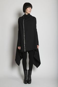 a52d3b6025 cotton fleece cape-like jacket with narrow sleeves and exposed silvertone  zip closure down right