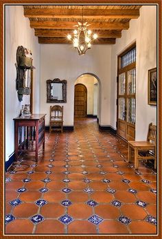Tile; Mexican saltillo tiles inset with hand painted blue and white tiles.