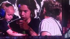 One Direction bringing up a 3 year old on stage and talking to him at WWA Nashville! It was his birthday :) (August 19th, 2014).