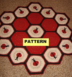 Crochet Afghan Pattern - LADY BUG AFGHAN / Blanket / Throw. $4.99, via Etsy.