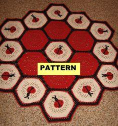 Crochet Afghan Pattern - LADY BUG AFGHAN / Blanket / Throw. $4.99, via Etsy.