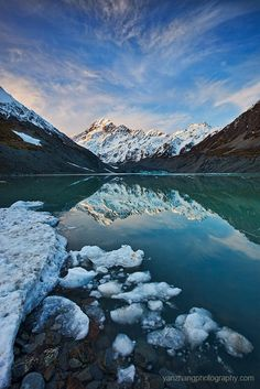 Lake Hooker - Mount Cook, New Zealand. Mount Cook is our tallest peak, majestic and symbolising the divide between the east and west coast. ..