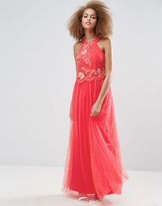 Little Mistress Embroidered Halter Maxi Dress