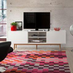 TV-LOWBOARD MALMÖ RACK SIDEBOARD WEIß RETRO DEKOR EICHE MASSIV HOLZ AU2356F in Möbel & Wohnen, Möbel, TV- & HiFi-Tische   eBay