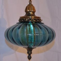 70s Swag Lamps | ... MODERN 60s 70s BLUE UFO OPTIC ART GLASS HANGING SWAG LAMP LIGHT