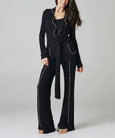 Take a look at the Black Tie Cardigan & Lounge Pants on #zulily today!