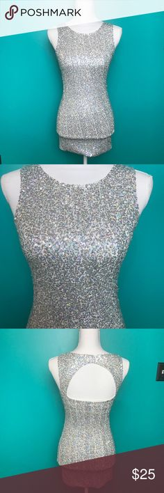 Divided by H&M sequin body con mini This dress is gorgeous! White fabric with silver holographic sequins. Wear it to homecoming or for a night on the town! Divided Dresses Mini