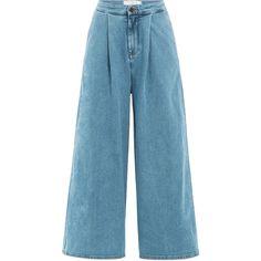 Victoria Beckham Denim Denim Culottes (88 KWD) ❤ liked on Polyvore featuring pants, capris, blue, denim pants, wide leg denim trousers, high waisted wide leg pants, zipper pants and high rise pants