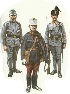 WWI Hungarian solders (Austro-Hungarian Empire) 1914/15: Left-right, NCO field dress, ensign hussars, corporal carpathian jaegers.