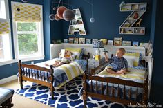 Fun boys' bedroom with DIY monogram letter A and Z wall shelves, raingutter book shelves, and other do it yourself decorating ideas.