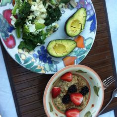 Health nut breakfast .   -Scrambled egg whites with spinach, broccoli, mushroom and onion(protein and greens!) -avocado(good fats) -oatmeal with berries ( slow digesting carbs that boosts metabolism and burns fat and a source of antioxidants )