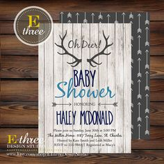 Rustic Baby Boy Shower Invitations - Deer Antler Baby Boy Shower Invitation - Navy, Gray, Light Blue - Rustic Wood, Arrows, Deer Antler