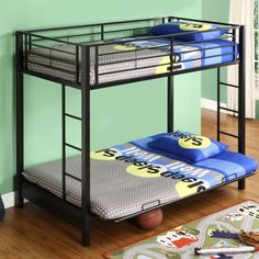 This Black Metal Twin over Full-size Futon Bunk Bed Frame constructed with durable steel framing. Designed for safety, bed includes full length guardrails and a Twin Futon, Futon Bunk Bed, Full Bunk Beds, Full Size Futon, Full Size Mattress, Metal Bunk Beds, Bunk Bed Designs, Black Bedding, Bed Styling