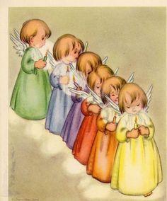 Vintage Christmas Greeting Card ARS Sacra Group of Colorful Angels EB6867   eBay