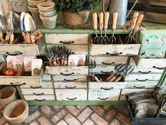 Set up the garden shop at the silos today and I just want to live in this little place. Everything you need for garden inspiration! #openingsoon #magnoliaseedandsupply