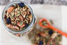 Pumpkin spice trail mix: sprinkle atop yogurt, serve with milk, or eat on its own.