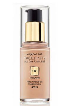 Todo el día perfecta con Max Factor    Facefinity 3 en 1 es una base de maquillaje que une base perfeccionadora, maquillaje y corrector en el mismo producto. De esta forma alisa la superficie de la piel, gracias a los polímeros Flexi-Hold que permiten que el color se fije y se mantenga perfecto durante más horas, corrige las imperfecciones y unifica el tono de la piel.    Precio: 12,95 €