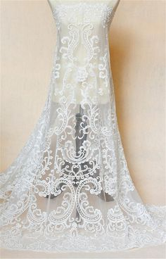 Black Lace Fabric, Bridal Lace Fabric, Embroidered Lace Fabric, Tulle Lace, Lace Applique, Beaded Embroidery, Floral Embroidery, Diy Wedding Dress, Wedding Lace