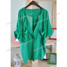 Women's Chiffon Shirt With V-Neck Bat-Wing Short Sleeve Flounce Design (GREEN,ONE SIZE) China Wholesale - Sammydress.com