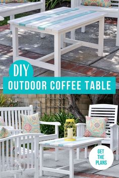 Make your own DIY outdoor coffee table with the complete plans and tutorial. It's the perfect addition to your outdoor living space and can be made in a day! #outdoorfurniture #outdoorcoffeetable #DIYfurniture #AnikasDIYLife Kreg Jig Projects, Woodworking Furniture Plans, Scrap Wood Projects, Woodworking Projects That Sell, Diy Furniture Projects, Diy Woodworking, Coffee Table Plans, Outdoor Coffee Tables, Wood Projects For Beginners