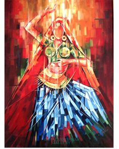 Indian Dancing Lady - Painting,  46x62 cm ©2013 by GOPALAKRISHNAN -  Painting