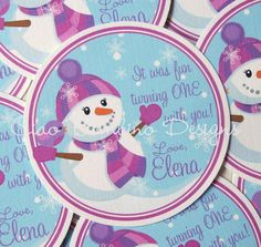 Winter ONEderland Snowman Favor Tags for Girls by ciaobambino, $6.00