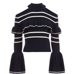 Self-Portrait Cold Shoulder Frill Stripe Sweater (€275) ❤ liked on Polyvore featuring tops, sweaters, navy, blue striped sweater, blue sweater, navy striped sweater, striped cold shoulder top and ruffle sweater