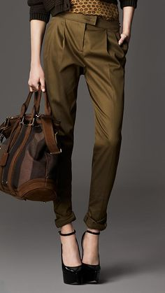Pleat Front Boyfriend Fit Trousers in Aniseed Green | Burberry: London Collection