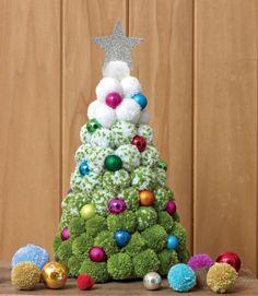 Jemima Schlee's gorgeous festive tree (from her book A Very Pompom Christmas) . - Jemima Schlee's gorgeous festive tree (from her book A Very Pompom Christmas) combines traditiona - Christmas Pom Pom Crafts, Christmas Projects, Holiday Crafts, Christmas Crafts, Christmas Ornaments, Christmas Christmas, Christmas Tree Festival, Crochet Christmas, Pom Poms