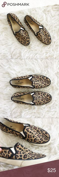 Cheetah Print Slip On Sneakers Playful cheetah print slip on sneakers/tennis shoes from American Eagle. Gently loved with minor scuffs along soles and pilling along insoles. Worn 3-4 times with minimal wear. American Eagle Outfitters Shoes Sneakers
