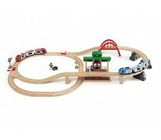 Buy Brio: Railway - Travel Switching Set at Mighty Ape NZ. In Brio World there are no borders and no limitations – just endless possibilities. Be whoever you want to be, wherever you want in the BRIO World. Brio Bahn, Brio Train Set, Wood Images, Train Table, Wooden Train, Train Engines, Train Tracks, Toys Shop, Baby Jogger