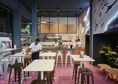 Aces of Space - Doi Doi I Hospitality Design & Branding / The creation of a visual Hospitality Design, Color Pop, Color Schemes, Branding Design, Flooring, Interior Design, Table, Antwerp, Murals