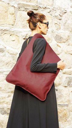 NEW Genuine Leather Burgundy Bag / High Quality  Tote